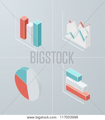 Isometric column chart icon.