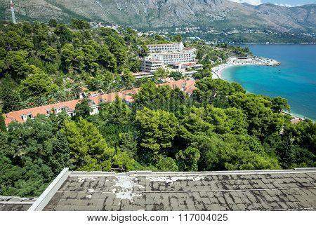 Aerial view on abandoned Tourist Complex in Kupari village Croatia