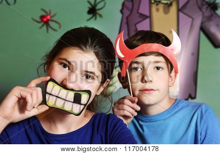 Boy And Girl Halloween Party Preparation