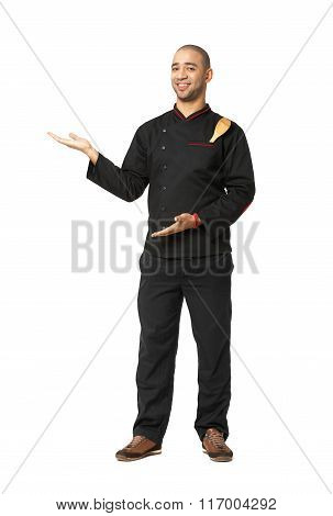 Fullbody Portrait Of Afro American Professional Cook Presenting - Isolated.