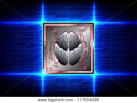 Abstract Brain With Circuit Board Technology On Blue Color Background