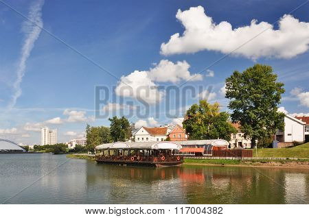 Minsk downtown across Svislotch river