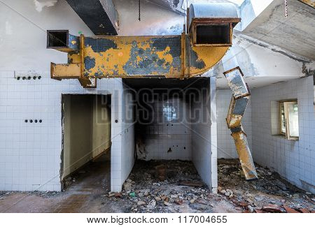 ventilating duct in abandoned hotel in former Tourist Complex of Kupari village Croatia
