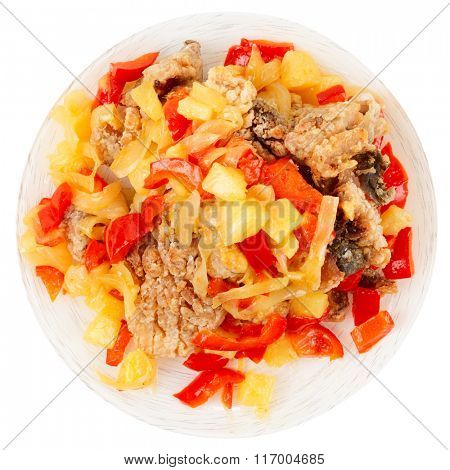 Deep fried carp in sweet-sour sauce, chinese style dish, isolated on white