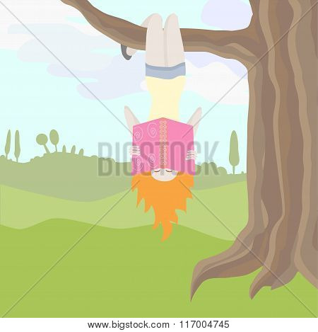 Vector Illustration Of Girl Excited Of Reading Hanging Upside Down An A Tree Branch. Objects Grouped