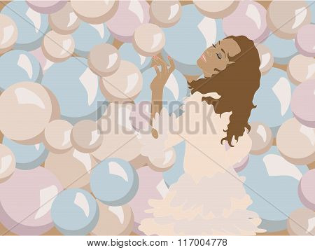 Vector Illustration Of Young Girl Touching One Of The Plenty Colorful Bubbles Around Her Objects Gro