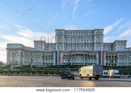 Bucharest, Romania - 1St December: Casa Poporului On December 1, 2015 In Bucharest. Panoramic View O