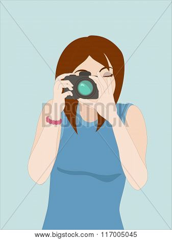 Vector Illustration Of Girl Photographer Clicking On The Camera Button. Objects Grouped And Named In