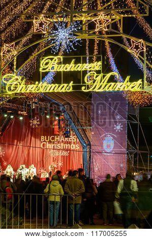 Bucharest, Romania - December 25: Bucharest Christmas Market On December 25, 2015 In Bucharest. Vert