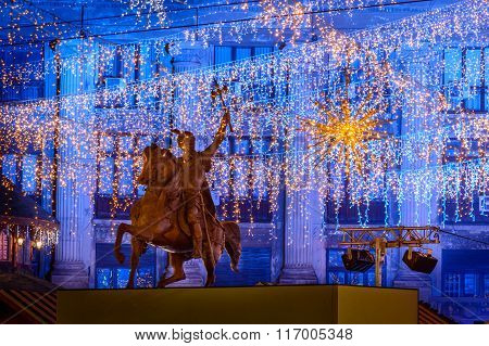 Bucharest, Romania - December 25: Piata Universitatii Mihai Viteazu Statue On December 25, 2015 In B
