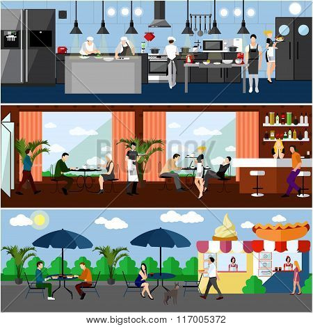 Vector banner with restaurant interiors. Kitchen, dining room and street cafe. Illustration in flat