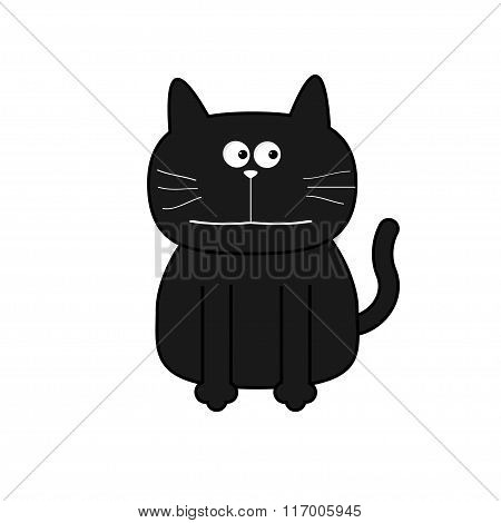 Cute Contour Cat. Flat Design. White Background. Isolated