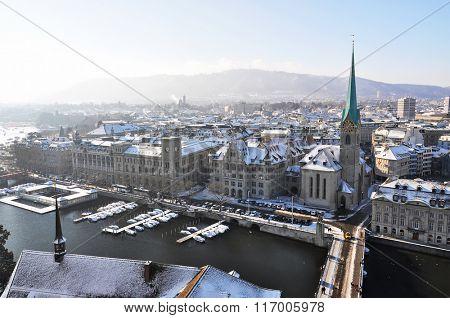 Winter view of Zurich, Switzerland