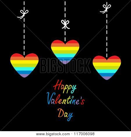 Happy Valentines Day. Love Card. Hanging Rainbow Heart Set.  Dash Line With Bows. Flat Design.