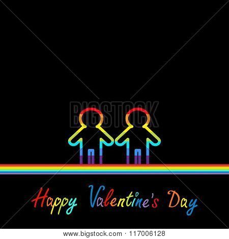 Happy Valentines Day. Love Card. Gay Marriage Pride Symbol Two Contour Rainbow Line Man Lgbt Icon Fl