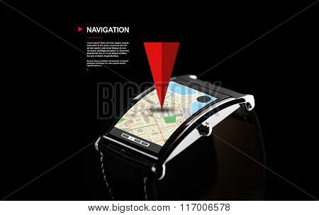 close up of black smart watch with gps navigator