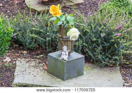 Grave Decorations, Angels On Grave Stone