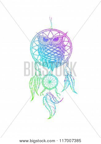 Dream-catcher Handdrawn Outline Vector Illustration With Owl