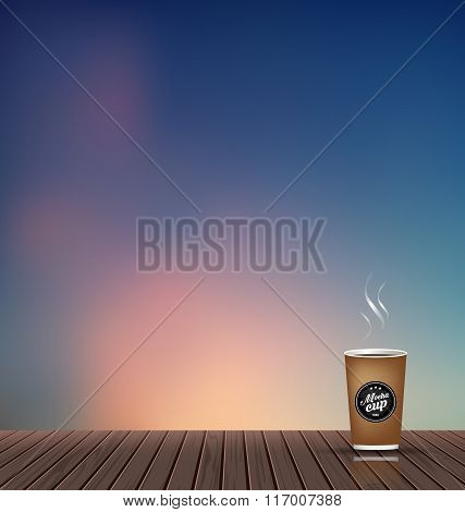Relax,Holiday,wooden floor with evening skyline natural scenery background and coffee cup