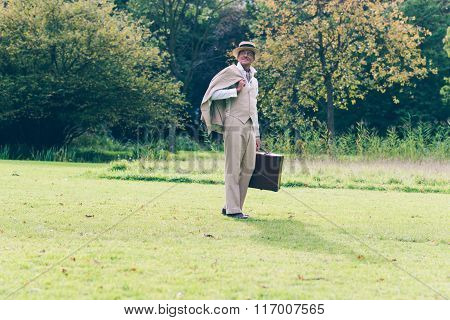 Vintage Commercial Traveler Back On His Estate Standing In Garden.