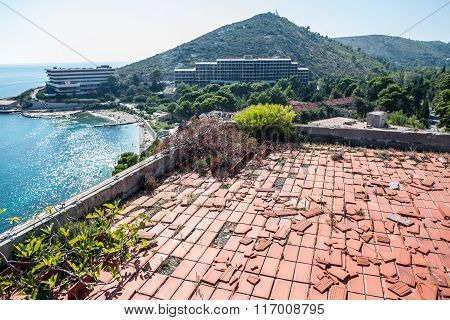 roof of abandoned hotel in former Tourist Complex of Kupari village Croatia
