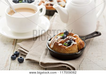 Cinnamon bun for one in a tiny skillet