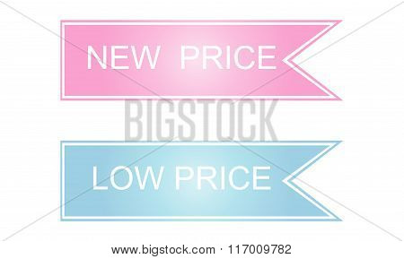 New And Low Price Labels. Vector.