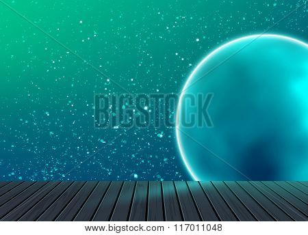 Galaxy space pattern on background with wooden floor