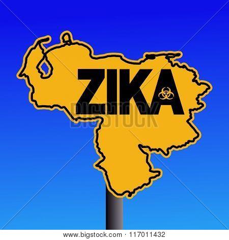 Zika virus warning Venezuela map sign on blue illustration