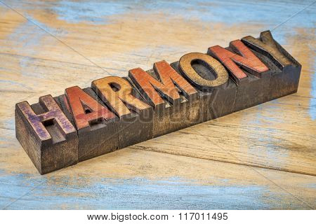 harmony word  in vintage letterpress wood type blocks stained by color inks