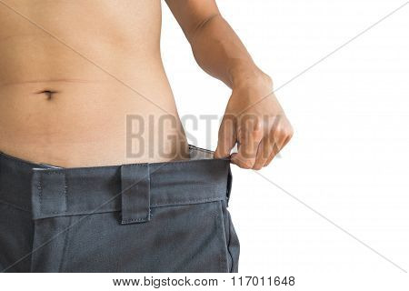 A man loose their weight, healthy diet concept, isolated on white background