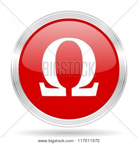 omega red glossy circle modern web icon on white background