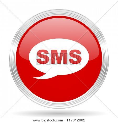 sms red glossy circle modern web icon on white background