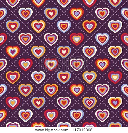 Seamless Background With Multicolored Hearts