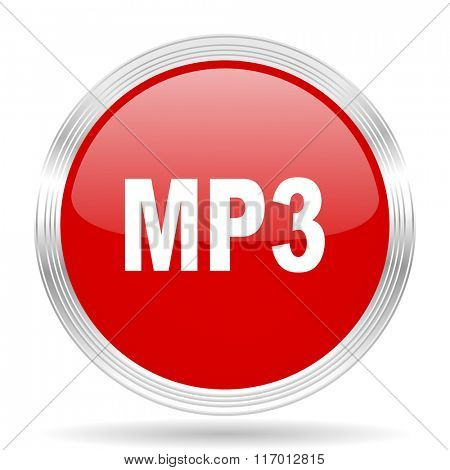 mp3 red glossy circle modern web icon on white background