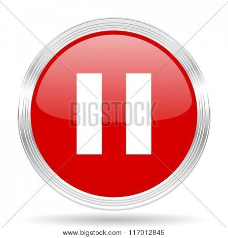 pause red glossy circle modern web icon on white background