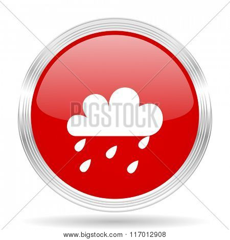 rain red glossy circle modern web icon on white background