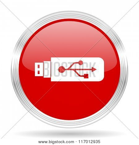 usb red glossy circle modern web icon on white background