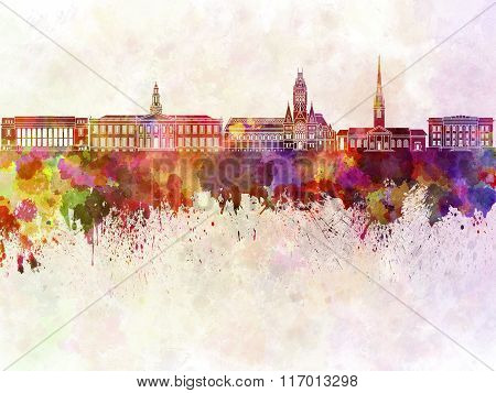 Harvard Skyline In Watercolor Background