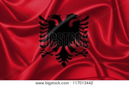 Albania Flag - satin texture