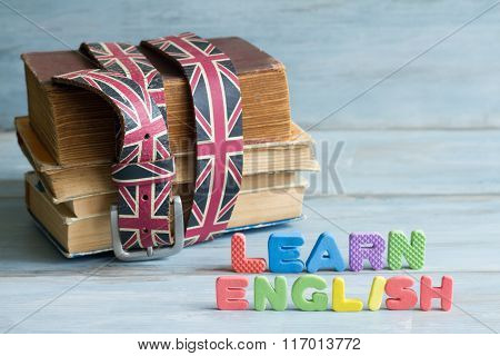 Learn english education concept with books and letters