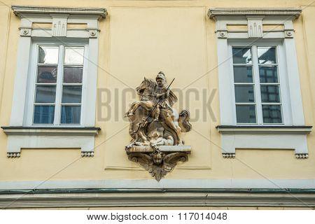 saint George figure on building in Mikulov town in Czech Republic