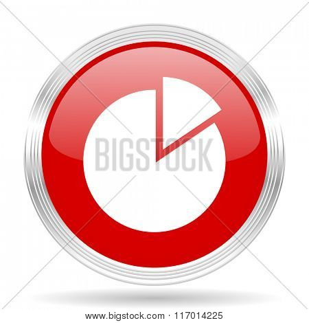chart red glossy circle modern web icon on white background
