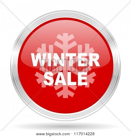 winter sale red glossy circle modern web icon on white background