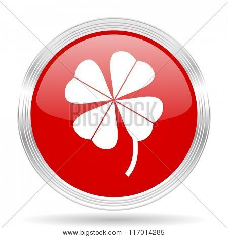 four-leaf clover red glossy circle modern web icon on white background
