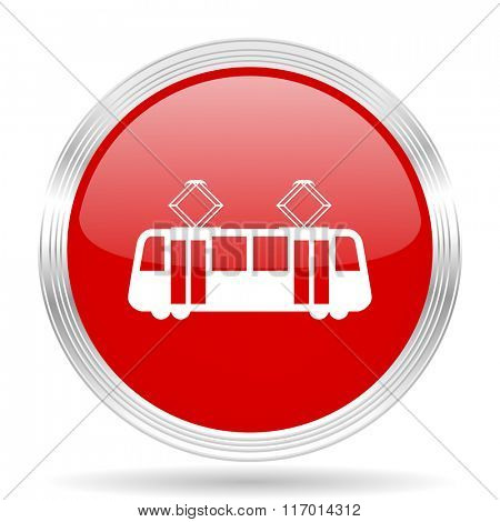 tram red glossy circle modern web icon on white background
