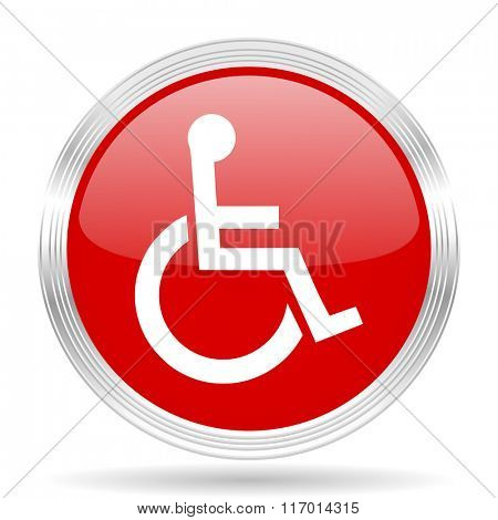 wheelchair red glossy circle modern web icon on white background