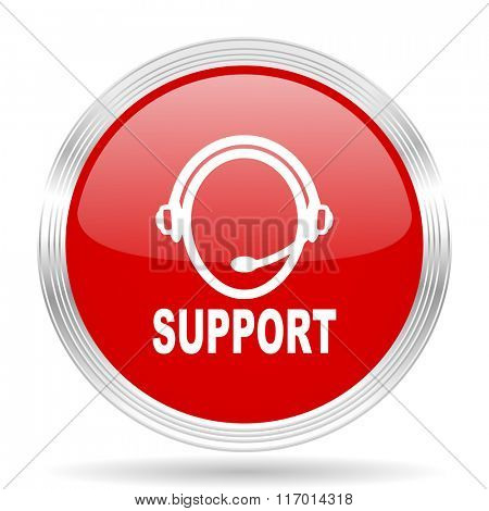 support red glossy circle modern web icon on white background