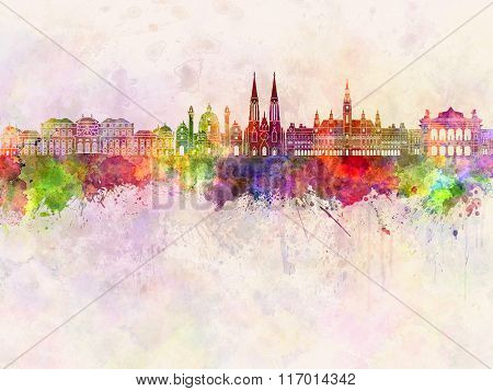 Vienna V2 Skyline In Watercolor