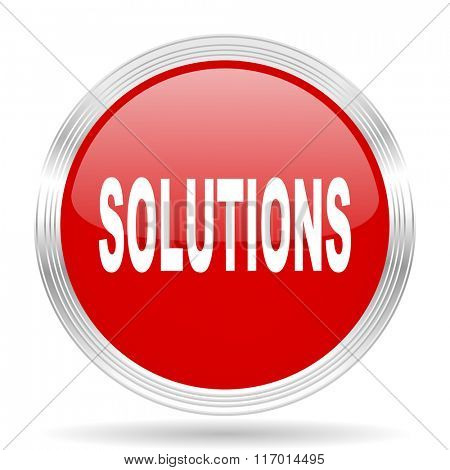 solutions red glossy circle modern web icon on white background